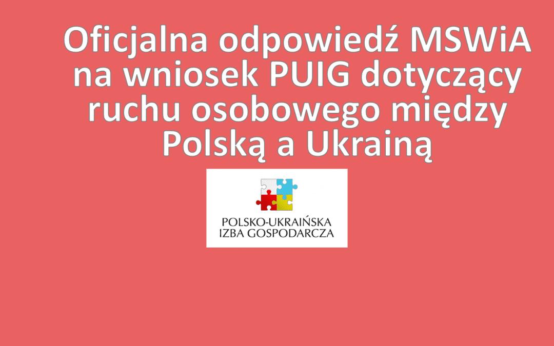 Oficjalna odpowiedź MSWiA na wniosek PUIG dotyczący ruchu osobowego między Polską a Ukrainą